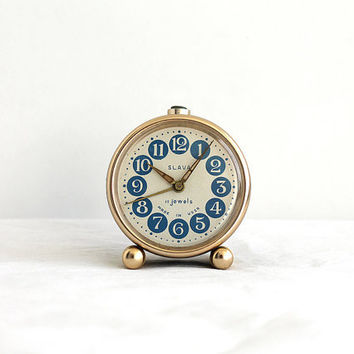 Vintage Soviet small Alarm clock SLAVA mechanical