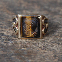 Vintage Tigers Eye 10K Gold Ring Roman Warrior Signet Intaglio Carved Brown Gemstone Dason Mid Century Size 9 1960's // Vintage Fine Jewelry