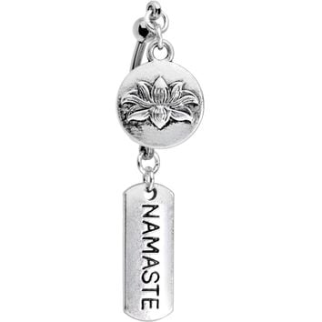 Handcrafted Namaste Lotus Flower Double Mount Dangle Belly Ring