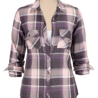 relaxed fit long sleeve plaid shirt