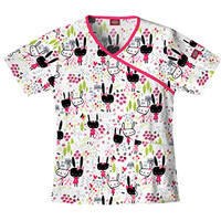 Everyday Scrubs by Dickies Womens Mock Wrap Print Top
