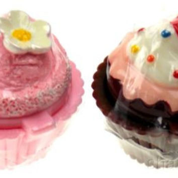 Set 12 Cupcake Shaped Lip Balm Chocolate Vanilla Strawberry Icing Sprinkles