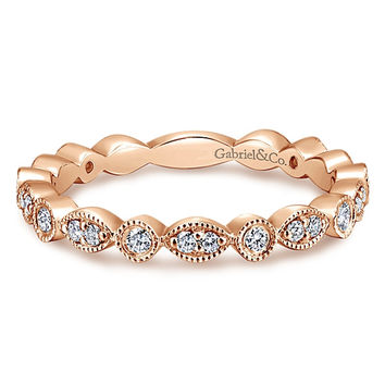 14K Rose Gold Marquise Shaped Stackable Round Diamond Ring