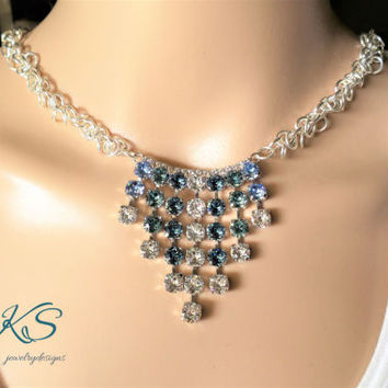 Glamorize me, Swarovski Statement Necklace, Blue, Crystal, Prom, Modern, Bridal, Ombre, DKSJewelrydesigns, FREE SHIPPING