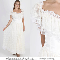 Jessica McClintock Dress Gunne Sax Dress Boho Wedding Dress Lace Dress Vintage 80s Boho Wedding Floral Lace Bridal Party Maxi