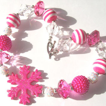 Glittery Snowflake Chunky Beaded Toddler Necklace Hot Pink