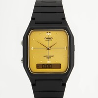 Casio Gold Face Black Resin Strap Watch AW48HE-9A