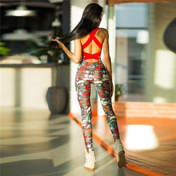 YEL Sexy Yoga Sport Jumpsuits Female Gym Clothes Sleeveless Foral Print Running Fitness Workout Set One Pcs Sport Yoga Set Women