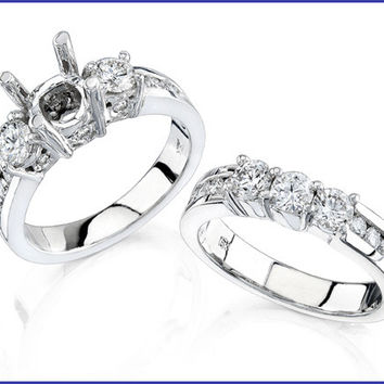 Gregorio 18K White Gold Diamond Engagement Ring and Band  R-264B R-264E
