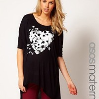 ASOS Maternity Exclusive Dipped Back Tee With Starry Heart at asos.com
