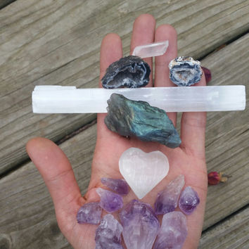 love's abundance, crystal bundle, crystal gift set, starter kit, rose quartz heart, selenite heart,  amethyst,  quartz point