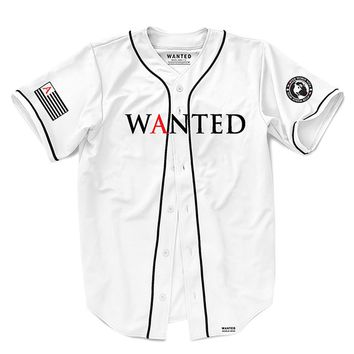 WHITE RED A WANTED JERSEY
