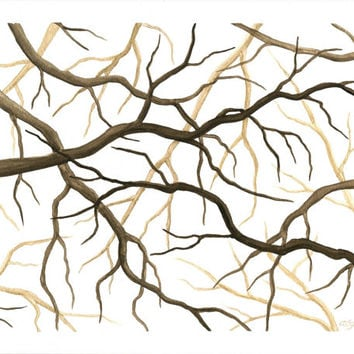"Original Watercolor Tree Painting, Tree Branch Wall Art, Brown Nature Art, Tangled Branches Home Decor, Beige Tree Branch Painting 8"" X 10"""