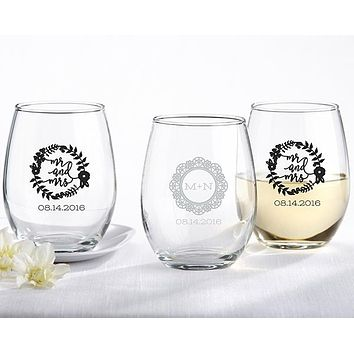 Personalized 15 oz. Stemless Wine Glass - Romantic Garden