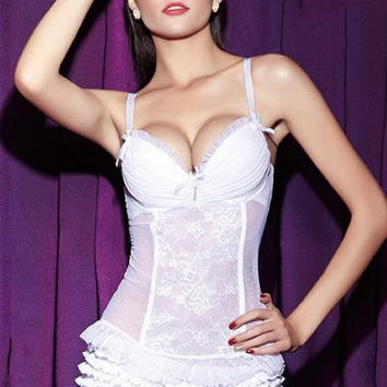 Plus size women sexy lingerie corset white bridal buttoming push up padded corset bustier elegant spaghetti strap wedding corset