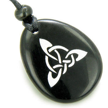 Magic Celtic Triquetra Knot Amulet Black Onyx Stone Necklace