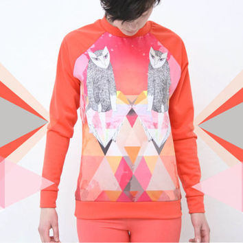 Coral cats- sweatshirt