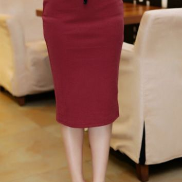 OL Women's Slim Fitted Knee Length Pencil Skirt