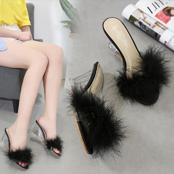 Women Summer Fashion Feather Transparent Crystal Open Toe Wedge Sandals Slippers High Heels Shoes