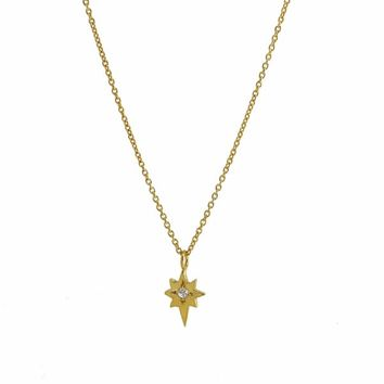 """North Star Necklace with White Sapphire Gold (20"""" Chain ) by Yvonne Henderson Jewellery"""
