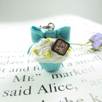Blue Bow Eat Me Cupcake Necklace - Food Jewelry , food necklace polymer clay
