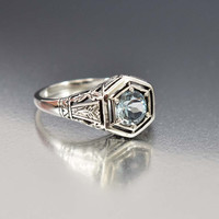 Sterling Filigree Aquamarine Engagement Ring Art Deco Style