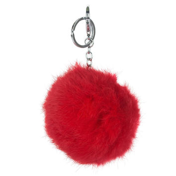 Red Big Rabbit Fur Pom Keychain