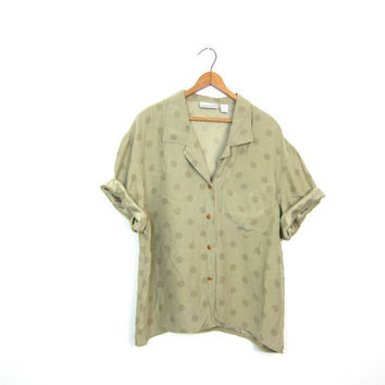 Silk Polka Dot Shirt Olive Sage Green Button Up Short Sleeve Silk Top Slouchy Boxy Tee 90s Silk Tshirt Minimal Blouse Womens Large Medium