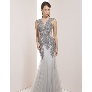 Preorder - Mignon VM38305 Dove Silver Sexy Mermaid Long Gown 2016 Prom Dresses