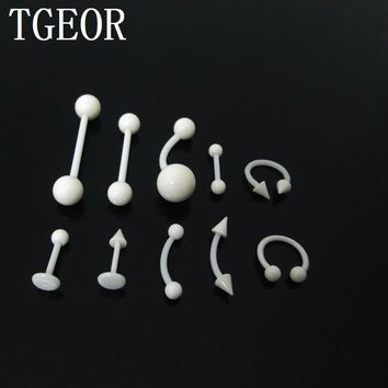 free shipping body piercing jewelry 1 Pair clear Transparent tongue barbell ring acrylic labret piercing tragus eyebrow ring