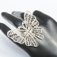Large Silver Butterfly Vinatge Filigree Ring