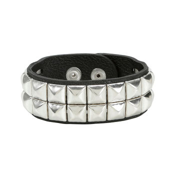 Two-Row Pyramid Stud Faux Leather Wrist Cuff