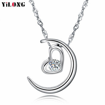 2016 Newest Hot Sale Lovers Heart Moon Seeds Link Chain 925 Sterling Silver Pendant Necklace For Women Friendship Jewelry