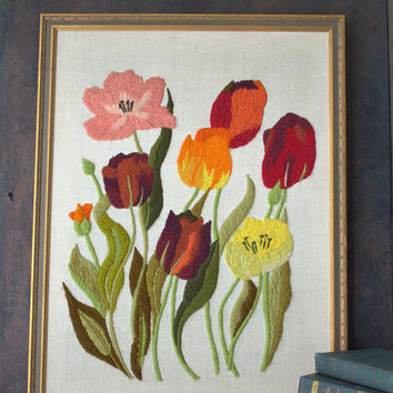 Large Framed Floral Embroidered Wall Art