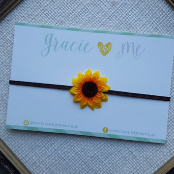 Mini Sunflower Headband on Skinny Brown Elastic - Fall - by Gracie and Me