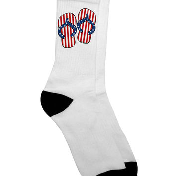 Stars and Stripes Flip Flops Adult Crew Socks