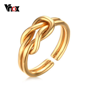 Vnox Infinity Knot Ring Forever Love for Women Girl Wedding & Engagement Jewelry Gold Plated
