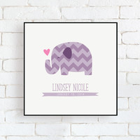 "Personalized Baby Birth Info Purple Chevron Elephant - 8"" x 8"" Framed Wall Art Decor"