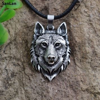 SanLan 1pcs Wolf Head Necklace Pendant Animal Power Norse Viking Amulet Necklaces Pendants Men Women Gift Jewelry