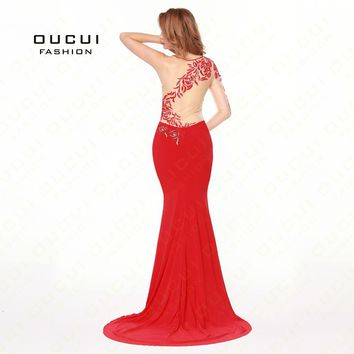 Real Photo Mermaid Crystal Handwork Formal Occasion Elegance Prom Dress Evening dress Single Sleeve Sweetheart Red dressOL102697