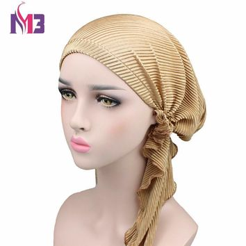 Fashion Women Silky Turban Wrinkle Turban Hat Bandanas Chemo Headwear Muslim Turban Headband Hair Accessories Turbante Hat