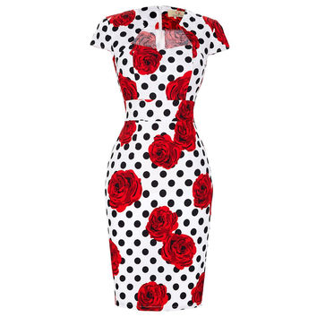 Sexy Slim Women Dress Summer Floral Vintage 50s Rockabilly Dresses Pinup