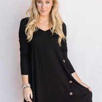 Modest Swing Button Up Dress In Black