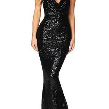 Black Daring Bare Back Sequined Mermaid Party Gown