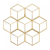 Hex Grid Brass Wall Decor S/2