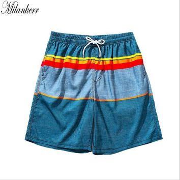 Milankerr Brand Striped Beach Shorts Men's Swimwear Swim Boxers Trunks Gay Men Surfing Board Shorts Quick-dry Jogger Shorts 2018