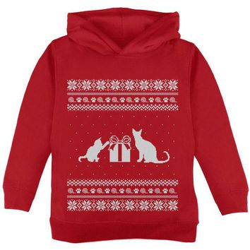 LMFCY8 Cats Ugly Christmas Sweater Red Toddler Hoodie