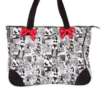 Bettie Page Collage Tote Black
