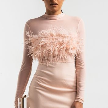 AKIRA Mock Neck Mesh Top Feather Mini Bodycon Dress in Blush