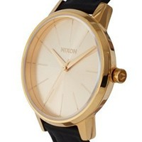 Nixon Black Leather Round Face Watch at asos.com
